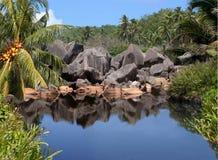 Lake of the tropical paradise island. stock photos
