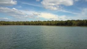 Lake and Tropical Wood on Bank against Sky Panorama. Tranquil panorama large green lake and deep tropical forest on bank against sky with light white clouds stock video footage