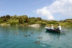 Lake Truebsee over Engelberg on the Swiss alps Royalty Free Stock Photos
