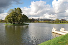 Lake in Tsaritsynsky park in Moscow. The Tsaritsynsky park memorial estate is in Moscow in Russia. Here the manor of tsarina Ekaterina 2 is located. Not Stock Photo