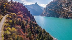 Lake Turquoise Road Mountains Autumn Zervreilasee Switzerland Aerial 4k