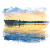 Lake in twilight. Royalty Free Stock Photography