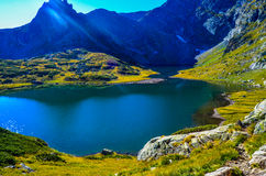 Lake Twin , One of the famous seven lakes in mountain Rila, Bulgaria. One of the famous seven lakes in mountain Rila, Bulgaria Royalty Free Stock Image