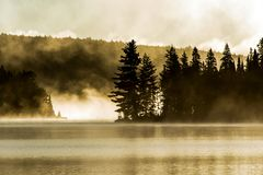 Lake of two rivers algonquin national park ontario canada sunset sunrise with fog foggy mystical atmosphere background Stock Photo