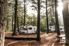 Lake of two rivers Campground Algonquin National Park Beautiful natural forest landscape Canada Parked RV camper car. Lake of two rivers Campground Algonquin Stock Photography