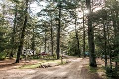 Lake of two rivers Campground Algonquin National Park Beautiful natural forest landscape Canada Parked RV camper car. Lake of two rivers Campground Algonquin Stock Image