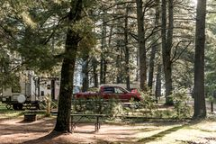 Lake of two rivers Campground Algonquin National Park Beautiful natural forest landscape Canada Parked RV camper car. Lake of two rivers Campground Algonquin Royalty Free Stock Photography