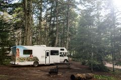 Lake of two rivers Campground Algonquin National Park Beautiful natural forest landscape Canada Parked RV camper car. Lake of two rivers Campground Algonquin Royalty Free Stock Image