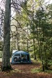 Lake of two rivers Campground Algonquin National Park Beautiful natural forest landscape Canada tent camper. Lake of two rivers Campground Algonquin National Royalty Free Stock Photography