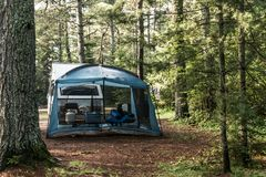 Lake of two rivers Campground Algonquin National Park Beautiful natural forest landscape Canada tent camper Stock Image