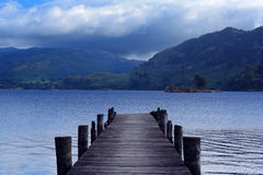 Lake Ullswater. View from a wooden jetty over Lake Ullswater, Cumbria, England royalty free stock photo