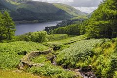 Lake Ullswater. Scenic view of lake Ullswater with track in foreground, Lake District National Park, Cumbria, England stock image