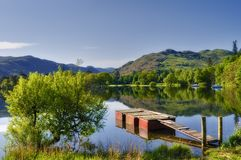 Lake Ullswater scenic. Scenic view of wooden pier on lake Ullswater, Lake District National Park, Cumbria, England stock image