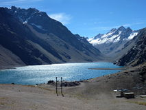 Lake under the chilean argentinien border pass at aconcagua royalty free stock image