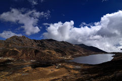Lake under cloudy sky. Elephant shaped lake under cloudy sky, Natahng Valley, Sikkim Stock Image