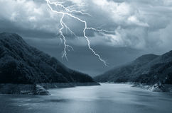 Lake under dramatic sky Royalty Free Stock Photo