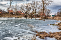 Lake under ice at winter Stock Photography