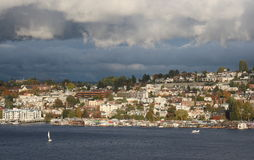 Lake Union  afternoon, cloudy Royalty Free Stock Photos