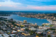 Lake Union and Cascade district in Seattle. Lake Union and Cascade district, Seattle, Washington State, USA Stock Image