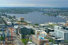 Lake Union, freshwater lake. Growing commercial district at south end of lake. Seattle, WA. United States royalty free stock image