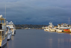 Lake Union panorama with yachts and boats in Seattle, USA. Royalty Free Stock Photo