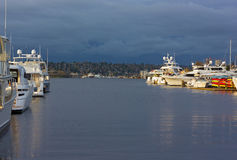 Lake Union panorama with yachts and boats in Seattle, USA. Royalty Free Stock Images