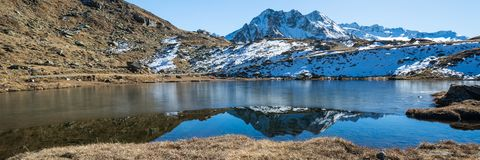 Lake Urlaun with a thin Layer of ice stock photos