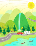 Lake Vacation. Cute illustration of a car and a trailer on their way to a vacation at the lake. Eps10 Stock Image