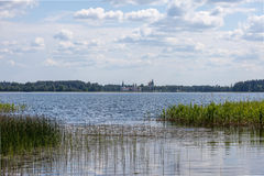 Lake Valdai and Iversky monastery in the distance. Russia Royalty Free Stock Photography