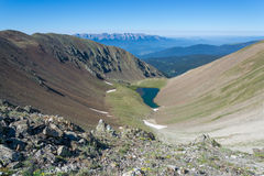 Lake in valley in Pyrenees mountains Stock Image