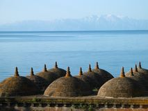 Lake Van. Early morning on Lake Van in eastern Turkey, with a mosque in the foreground Stock Image