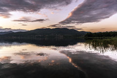 Lake of Varese, landscape at sunset Royalty Free Stock Image