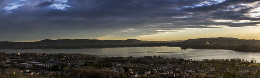 Lake of Varese, landscape at sunset Royalty Free Stock Images