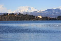 Lake of Varese, Lombardia, Italy. Lake of  Varese, region Lombardia, Italy, and the Mount Rosa on the background Stock Photography