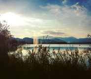 Lake. Velenje lake in Slovenia Royalty Free Stock Image