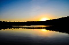 Sunset & lake in New England royalty free stock images
