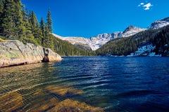Lake Verna, Rocky Mountains, Colorado, USA. Lake Verna with rocks and mountains around at autumn. Rocky Mountain National Park in Colorado, USA royalty free stock photos