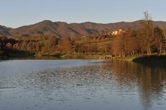 Lake of Vicchio (Florence) stock images