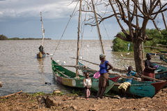 Lake victoria fishermen go to work Royalty Free Stock Photography
