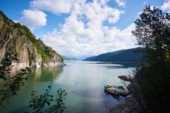 Lake Vidraru is an artificial lake in Romania, Fagaras mountains stock images