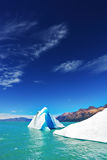 The lake Viedma  in Patagonia. The unique lake Viedma  in droughty Patagonia. Huge white-blue icebergs float in ice emerald waters of the lake in Argentina Royalty Free Stock Images