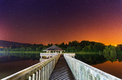 Lake of Vielsalm at night Stock Photos