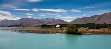 Lake Tekapo with church Good Shepherd Royalty Free Stock Images