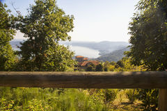 Lake view behind wooden trunk Royalty Free Stock Photos