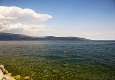 Lake view with blue and green water Royalty Free Stock Photos