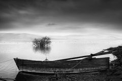 Lake view with boat and tree royalty free stock images