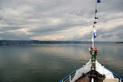 Lake view, Bow of Stadt Rapperswil Royalty Free Stock Photos