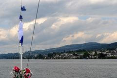 Lake view, Bow of Stadt Rapperswil Stock Photos