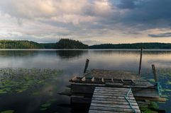 Lake view from bridge. Near Gnesta town, Sweden on a cloudy evening Stock Image