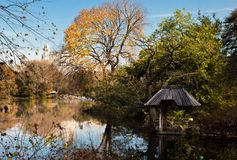 Lake view from Central Park NYC on Autumn November Day stock photos